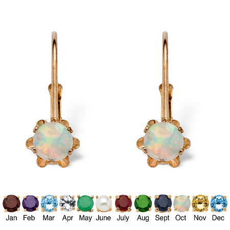 Round Genuine Birthstone 10k Gold Lever Back Buttercup-Set Earrings at PalmBeach Jewelry