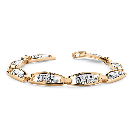 Elephant-Link Bracelet in Yellow Gold Tone and Silvertone 7.5