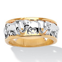 Elephant Caravan Two-Tone Ring in 18k Gold-Plated