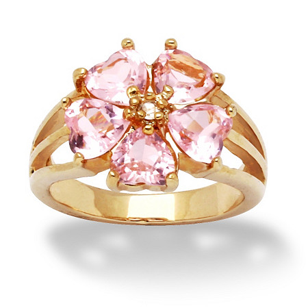 4 TCW Heart-Shaped Pink Cubic Zirconia 14k Yellow Gold-Plated Flower Ring at PalmBeach Jewelry