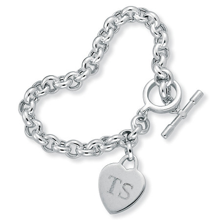 Personalized Initial Heart Charm Bracelet in Sterling Silver 8