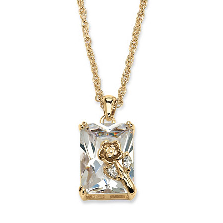 19.55 TCW Emerald-Cut Cubic Zirconia Rose Pendant Necklace in Yellow Gold Tone at PalmBeach Jewelry