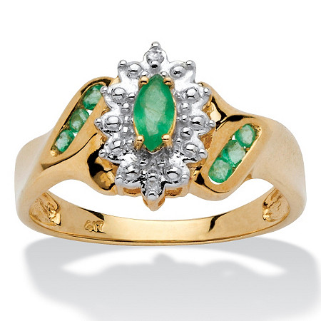 3/8 TCW Marquise-Cut and Round Genuine Emerald Diamond Accent 10k Gold Classic Ring at PalmBeach Jewelry