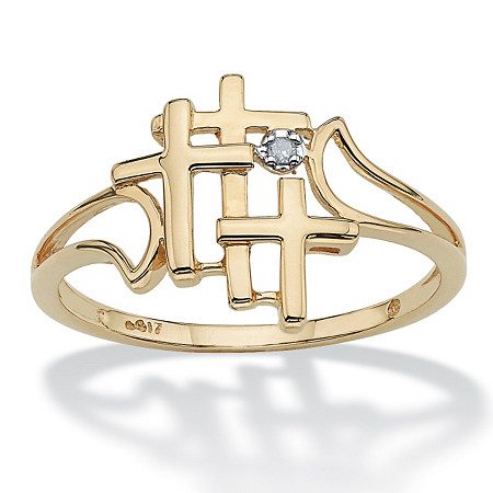 Triple Cross and Diamond Accent Ring in Solid 10k Yellow Gold at PalmBeach Jewelry