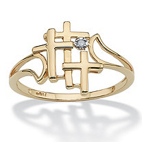 Triple Cross and Diamond Accent Ring in Solid 10k Yellow Gold