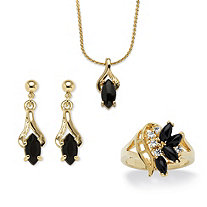 "Genuine Marquise-Shaped Genuine Onyx Ring, 18"" Necklace and Earrings Set 14k Gold-Plated"