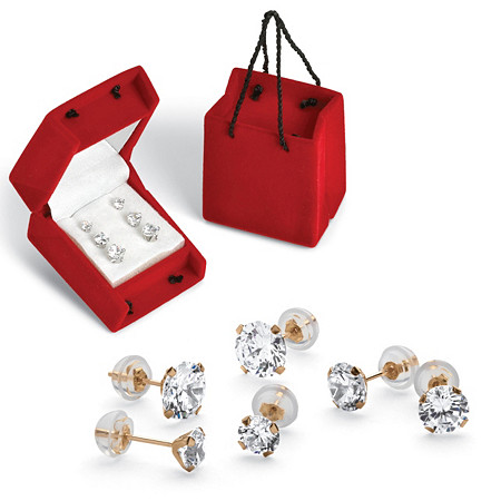 3 Pair 5.15 TCW Round Cubic Zirconia Stud Earrings Set in 10k Gold at PalmBeach Jewelry