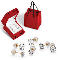 SETA JEWELRY 3 Pair 5.15 TCW Round Cubic Zirconia Stud Earrings Set in 10k Gold