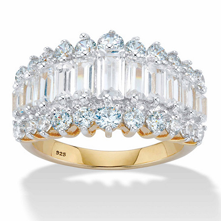 4.38 TCW Emerald-Cut Cubic Zirconia 18k Gold over Sterling Silver Engagement Anniversary Ring at PalmBeach Jewelry