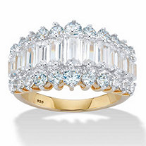 4.38 TCW Emerald-Cut Cubic Zirconia 18k Gold over Sterling Silver Engagement Anniversary Ring