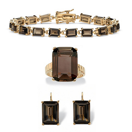 Emerald-Cut Genuine Smoky Quartz 3-Piece Earring, Bracelet and Ring Set 41.25 TCW 14k Gold-Plated 7.25