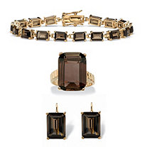 Emerald-Cut Genuine Smoky Quartz Three-Piece Jewelry Set Gold-Plated