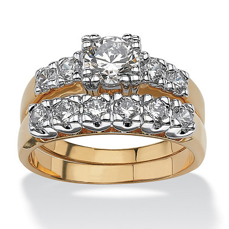 2 Piece 2.15 TCW Round Cubic Zirconia Bridal Ring Set in 18k Gold-Plated at PalmBeach Jewelry