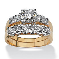 2 Piece 2.15 TCW Round Cubic Zirconia Bridal Ring Set in 18k Gold-Plated