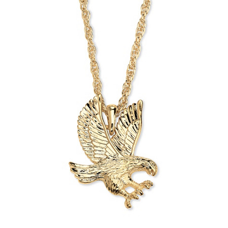 Men's Yellow Gold Tone Eagle Pendant Rope Chain Necklace 24