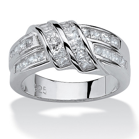 1.54 TCW Princess-Cut Cubic Zirconia Wrap Ring in .925 Sterling Silver at PalmBeach Jewelry
