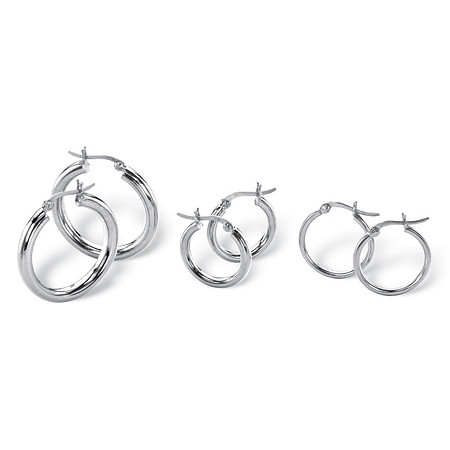 "3 Pair Hoop Earrings Set in Sterling Silver (1"", 3/4"", 1/2"") at PalmBeach Jewelry"