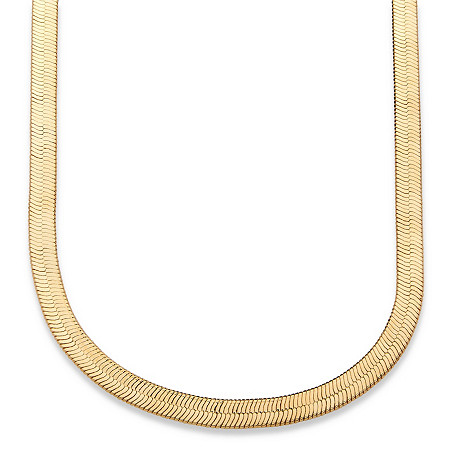 Herringbone Necklace in Sterling Silver with a Golden Finish at PalmBeach Jewelry