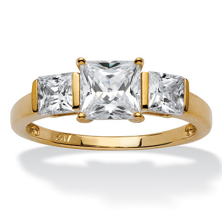 Princess-Cut Cubic Zirconia 3-Stone Bridal Engagement Anniversary Ring 1.94 TCW in Solid 10k Gold at PalmBeach Jewelry
