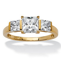 SETA JEWELRY Princess-Cut Cubic Zirconia 3-Stone Bridal Engagement Anniversary Ring 1.94 TCW in Solid 10k Gold