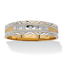 Men's Diamond Accent Two-Tone 10k Gold Diamond-Cut Milgrain Wedding Band