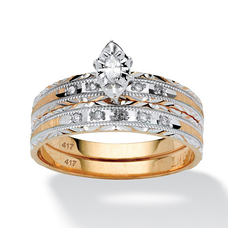 1/7 TCW Marquise-Cut Diamond Two-PIece Bridal Set in 10k Gold at PalmBeach Jewelry
