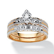 1/7 TCW Marquise-Cut Diamond Two-PIece Bridal Set in 10k Gold