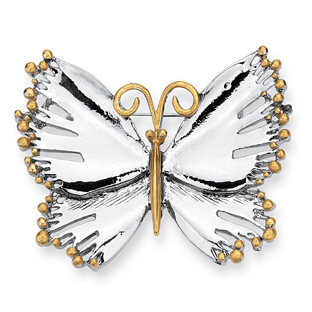 Silvertone Two-Tone Butterfly Pin/Brooch at PalmBeach Jewelry