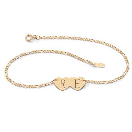 "10k Gold Double-Heart Personalized Iniital Figaro-Link Ankle Bracelet 10"" at PalmBeach Jewelry"