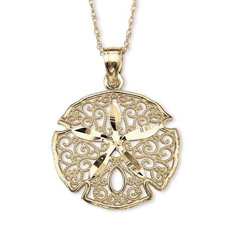 "10k Gold Sand Dollar Filigree Charm Pendant 18"" at PalmBeach Jewelry"