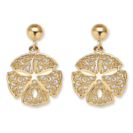 10k Yellow Gold Sand Dollar Drop Earrings at PalmBeach Jewelry