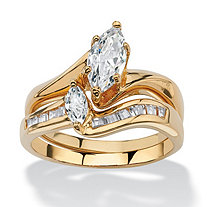 SETA JEWELRY Marquise-Cut Cubic Zirconia 2-Piece Bridal Ring Set 1.38 TCW in 18k Gold-Plated