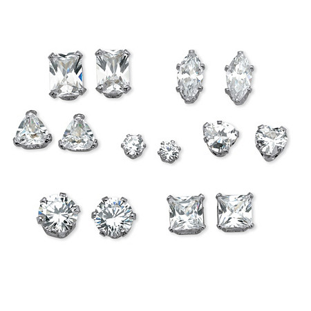 8.16 TCW 7-Pair Set of Multi-Cut Cubic Zirconia Stud Earrings Set in Platinum over Sterling Silver at PalmBeach Jewelry