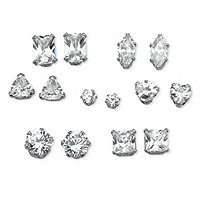 Multi-Cut Cubic Zirconia 7 Pair Stud Earrings Set 8.16 TCW in Platinum over Sterling Silver
