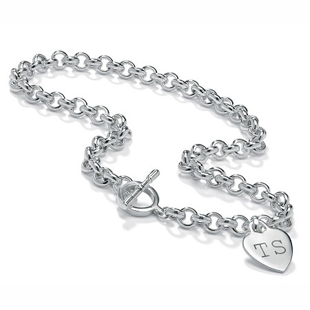 "Personalized Heart Charm Toggle-Clasp Necklace in Sterling Silver 17"" at PalmBeach Jewelry"