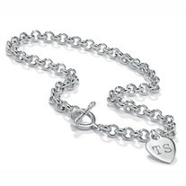 Personalized Heart Charm Toggle-Clasp Necklace in Sterling Silver 17""