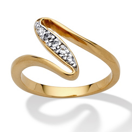 Round Cubic Zirconia 14k Yellow Gold-Plated Free-Form Ring at PalmBeach Jewelry