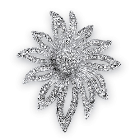 Round Crystal Pave Silvertone Flower Pin at PalmBeach Jewelry