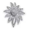 Related Item Round Crystal Pave Silvertone Flower Pin