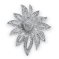 Round Crystal Pave Silvertone Flower Pin
