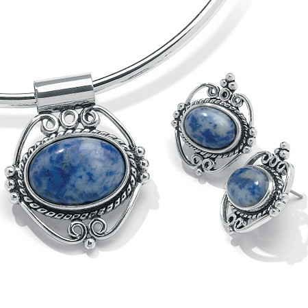 Oval-Shaped Simulated Blue Lapis Silvertone Antique-Finish Pendant and Earrings Set at PalmBeach Jewelry