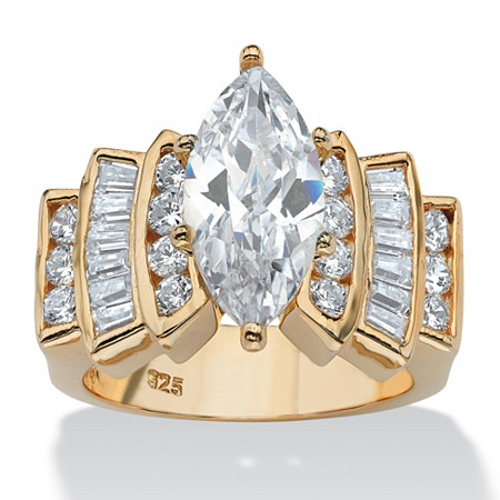 3.63 TCW Marquise-Cut and Round Cubic Zirconia Ring in 14k Gold over Sterling Silver at PalmBeach Jewelry