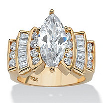 3.63 TCW Marquise-Cut and Round Cubic Zirconia Ring in 14k Gold over Sterling Silver
