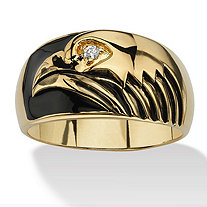 Men's Round Cubic Zirconia Accent 18k Yellow Gold-Plated Black Enamel-Finish American Eagle Ring