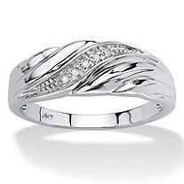 Men's Diamond Accent Solid 10k White Gold Swirled Wedding Band Ring