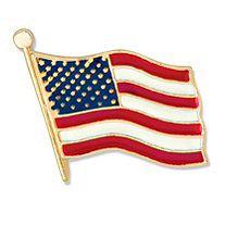 Yellow Gold Tone Enamel-Finish Patriotic Flag Pin