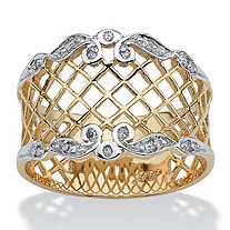 SETA JEWELRY Diamond Accent Lattice Ring in 10k Gold