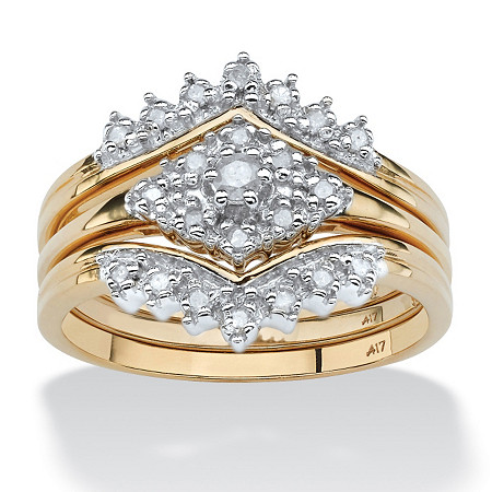 1/5 TCW Round Diamond 3-Piece Bridal Set in Solid 10k Yellow Gold at PalmBeach Jewelry