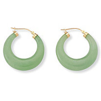 "Jade 14k Yellow Gold Hoop Earrings (1 1/4"")"