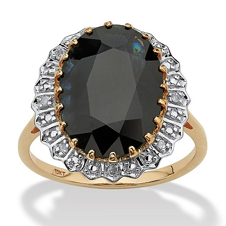 7.25 TCW Genuine Oval-Cut Midnight Blue Sapphire Ring in 10k Gold at PalmBeach Jewelry
